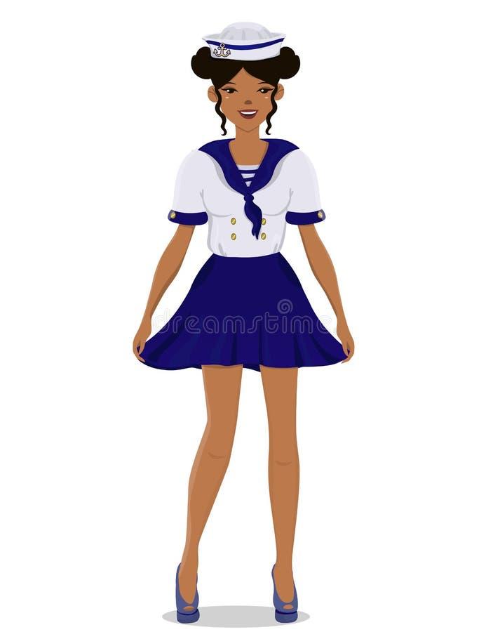 A menina em um uniforme do marinheiro no crescimento completo Imagem do vetor isolada no fundo branco ilustração do vetor