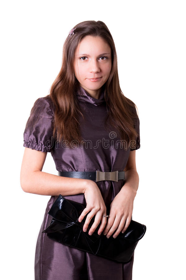 A menina em um vestido fotografia de stock