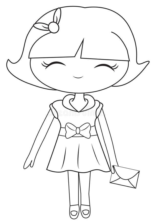 Menina em um vestido com uma página da coloração do correio ilustração do vetor