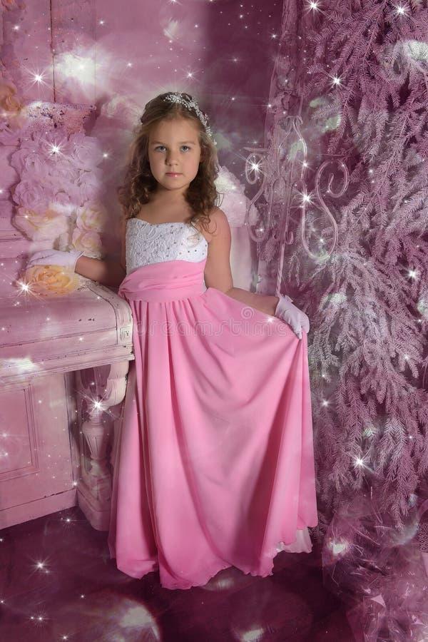Menina em um vestido cor-de-rosa esperto fotografia de stock royalty free