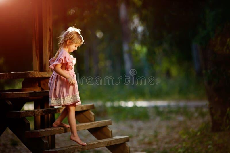 Menina em um vestido cor-de-rosa em uma ponte de madeira, foto de stock royalty free