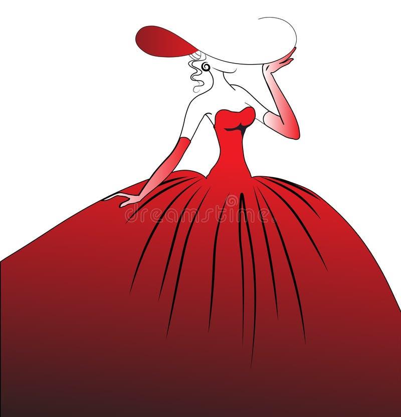 A menina em um vestido de esfera vermelho ilustração do vetor