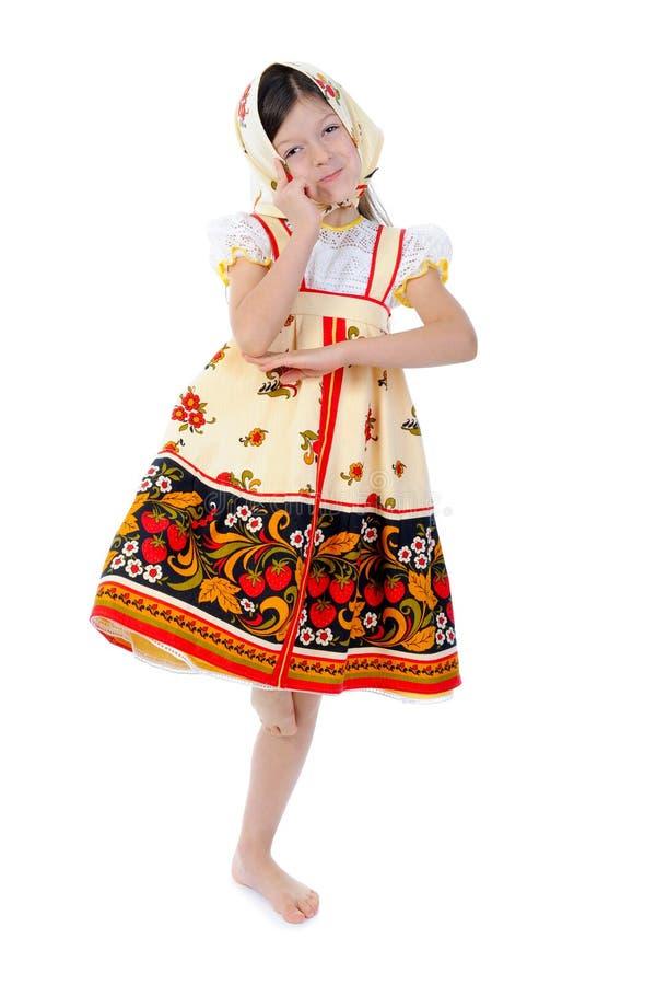 A menina em um xaile dança fotos de stock royalty free