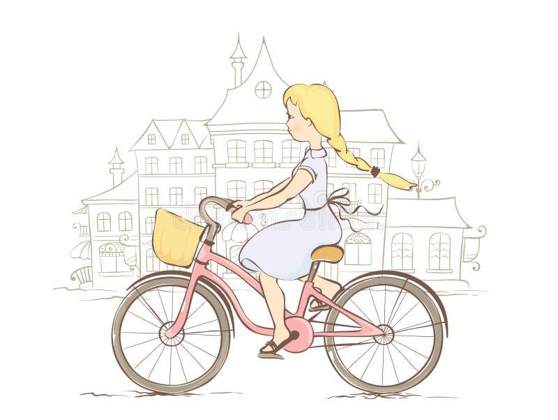 Menina em uma bicicleta em uma cidade europeia ilustração royalty free