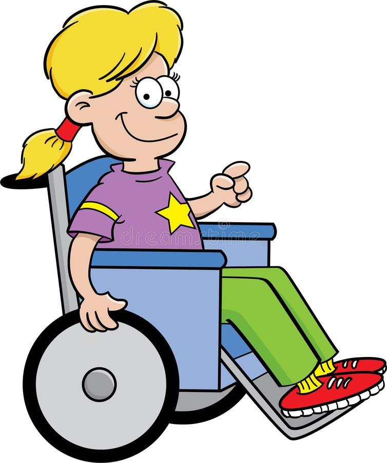 Menina em uma cadeira de rodas ilustração do vetor