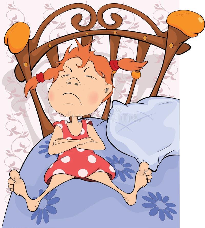 A menina em uma cama ilustração stock
