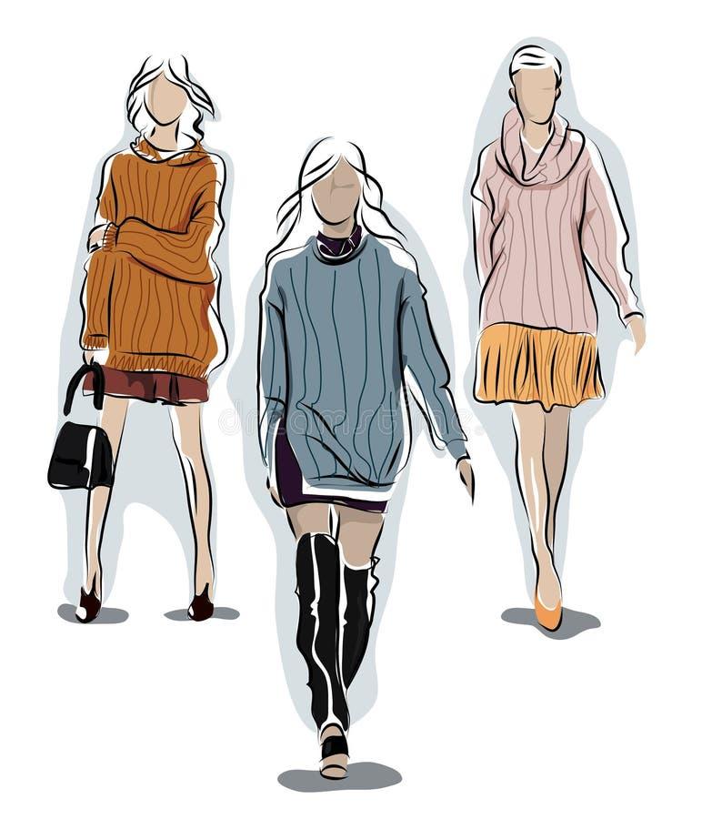 Menina em uma camiseta morna ilustração stock