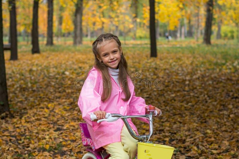 A menina em uma capa de chuva cor-de-rosa está montando uma bicicleta no parque do outono imagens de stock royalty free