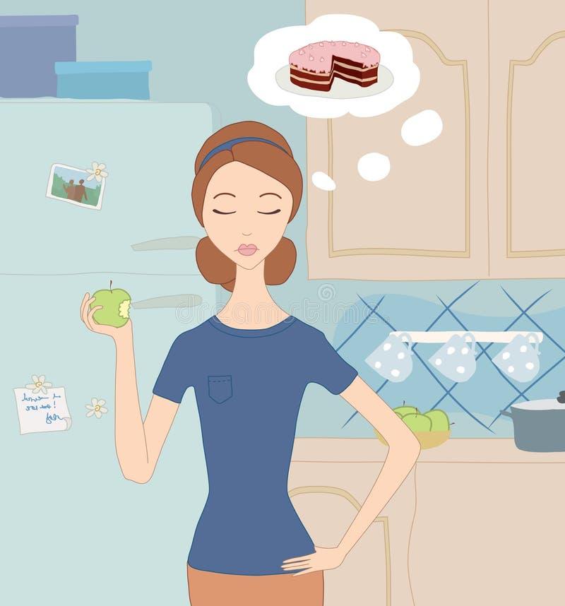 Menina em uma dieta ilustração stock