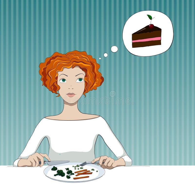 Menina em uma dieta ilustração royalty free