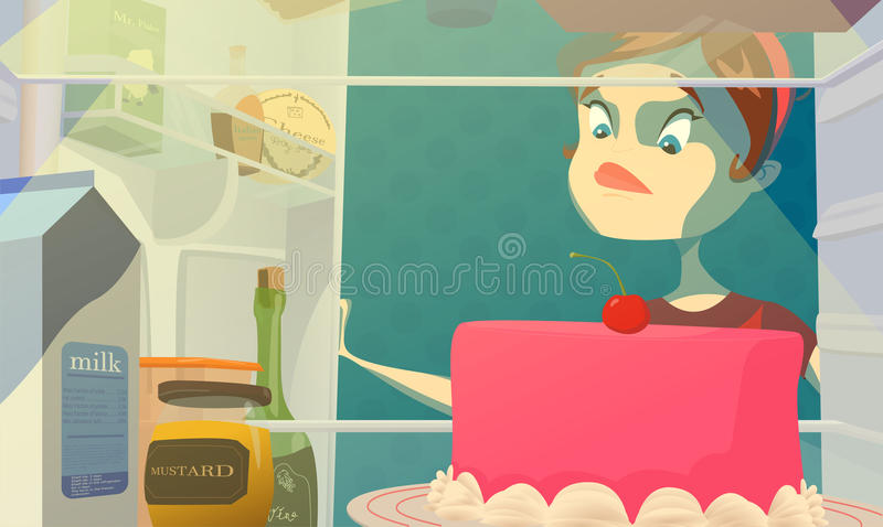 Menina em uma dieta Desejos saborosos Mulher com fome gorda e refrigerador aberto da noite Ilustração do vetor ilustração do vetor