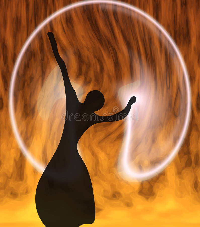 A menina em uma esfera ilustração stock