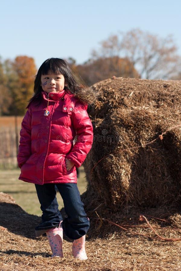 Menina em uma exploração agrícola fotografia de stock