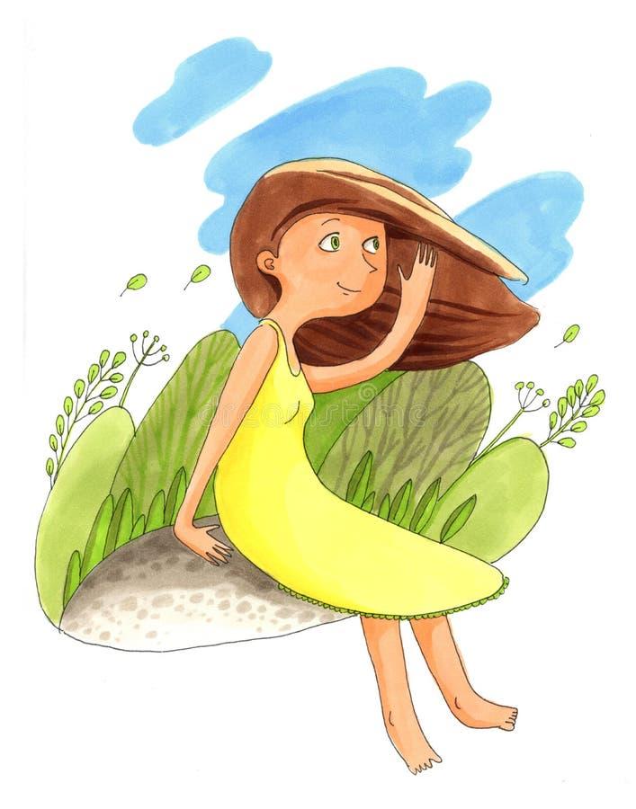 A menina em uma luz - o vestido verde está sentando-se na terra ilustração do vetor