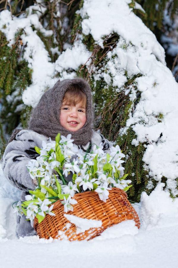 Menina em uma madeira do inverno imagem de stock