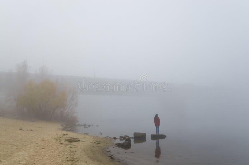 Menina em uma névoa muito grossa fotografia de stock