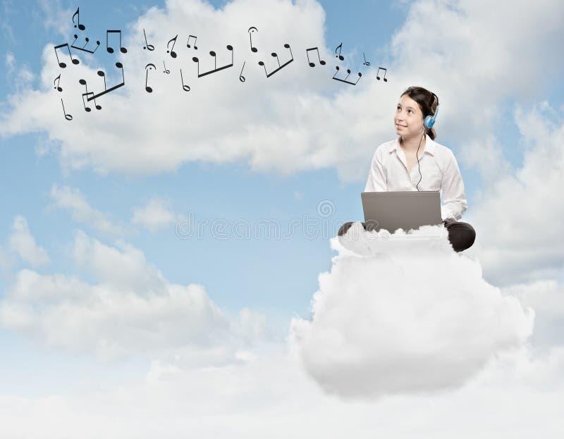 Menina em uma nuvem fotos de stock