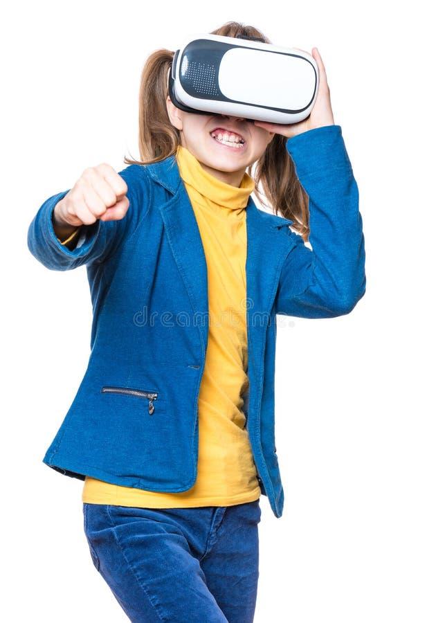 Menina em vidros de VR imagens de stock