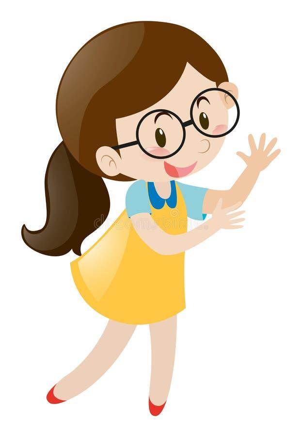Menina em vidros vestindo do vestido amarelo ilustração do vetor