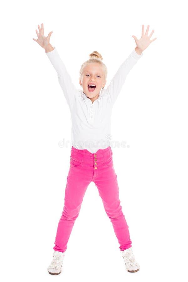 Menina emocional gritando com suas mãos levantadas imagem de stock royalty free