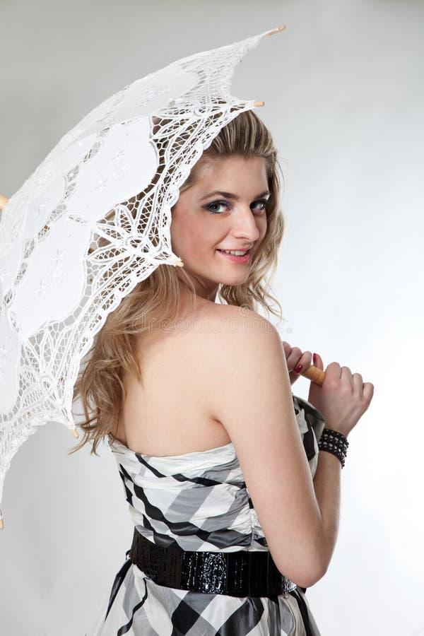 Menina encantadora com guarda-chuva fotos de stock royalty free