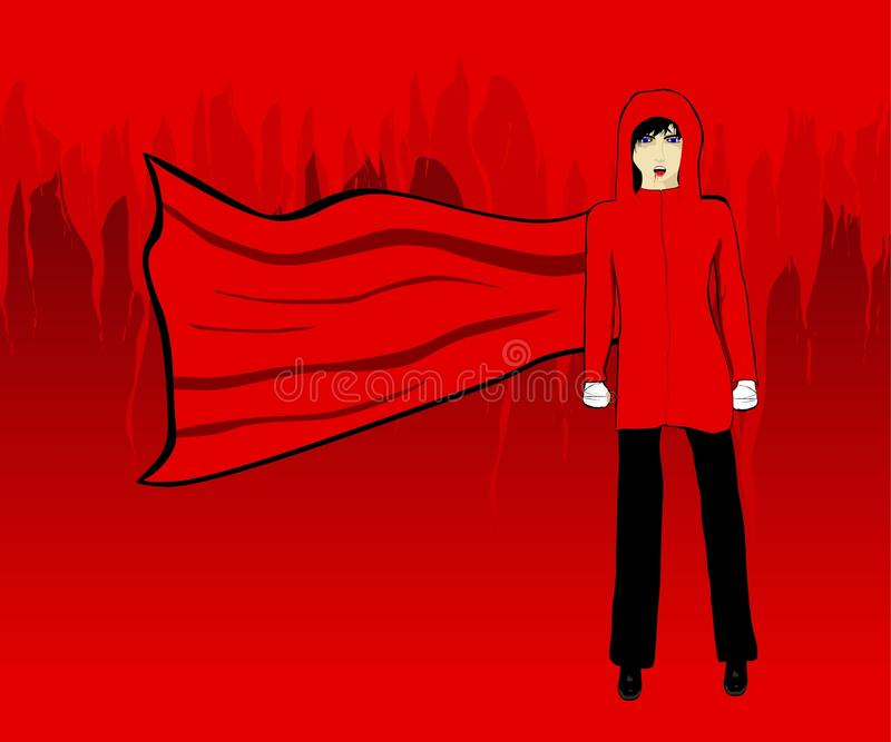 Menina encapuçado do vampiro. ilustração royalty free