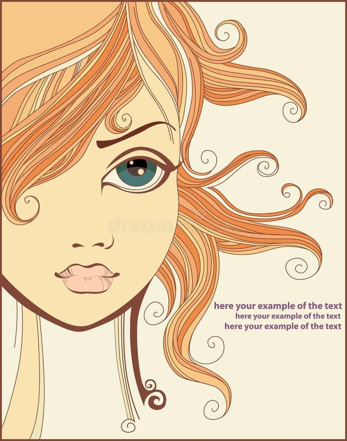 menina Encaracolado-de cabelo ilustração do vetor