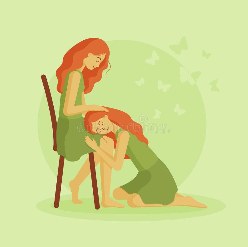 A menina encontra-se no regaço do seu amigo ilustração stock