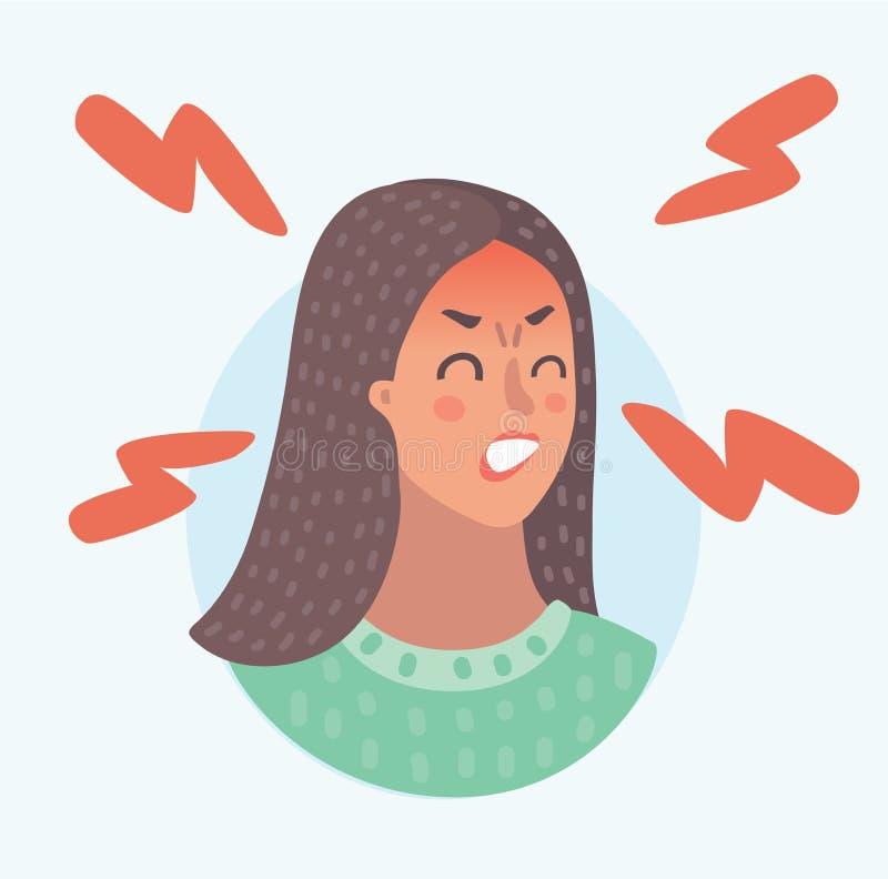 Menina enfrentada vermelha irritada ou furioso ilustração do vetor