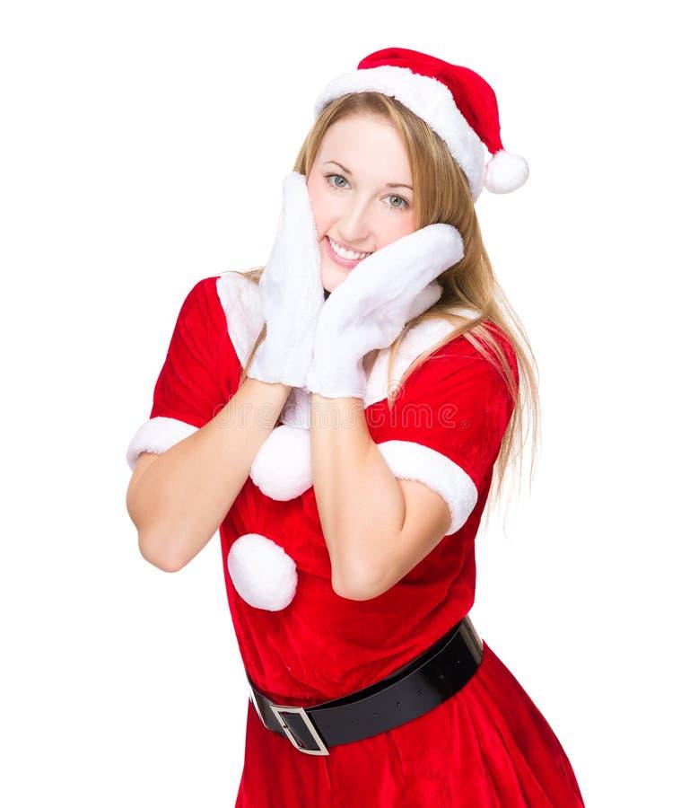 Menina engraçada com o traje do partido do xmas foto de stock