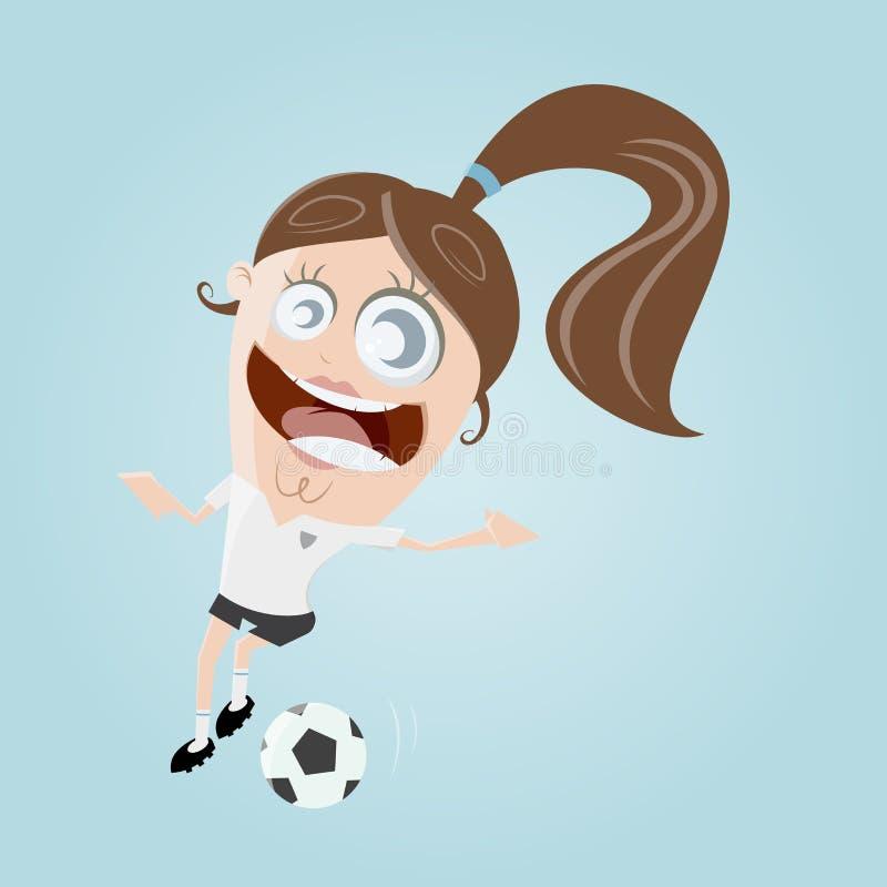 Menina engraçada do futebol ilustração royalty free