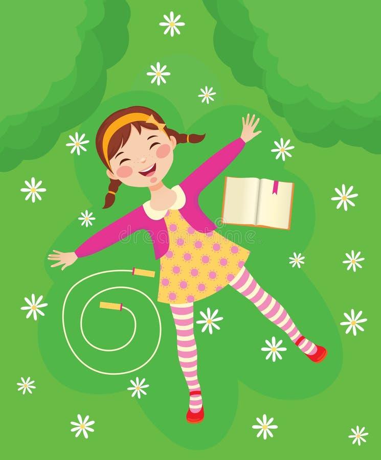 Menina engraçada que relaxa na grama verde ilustração royalty free