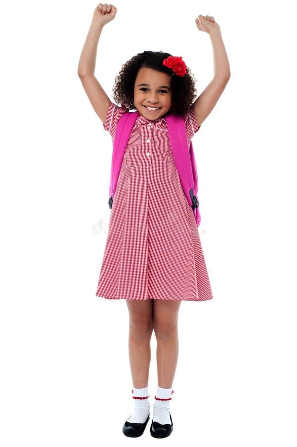 Menina entusiástica da escola primária fotos de stock royalty free