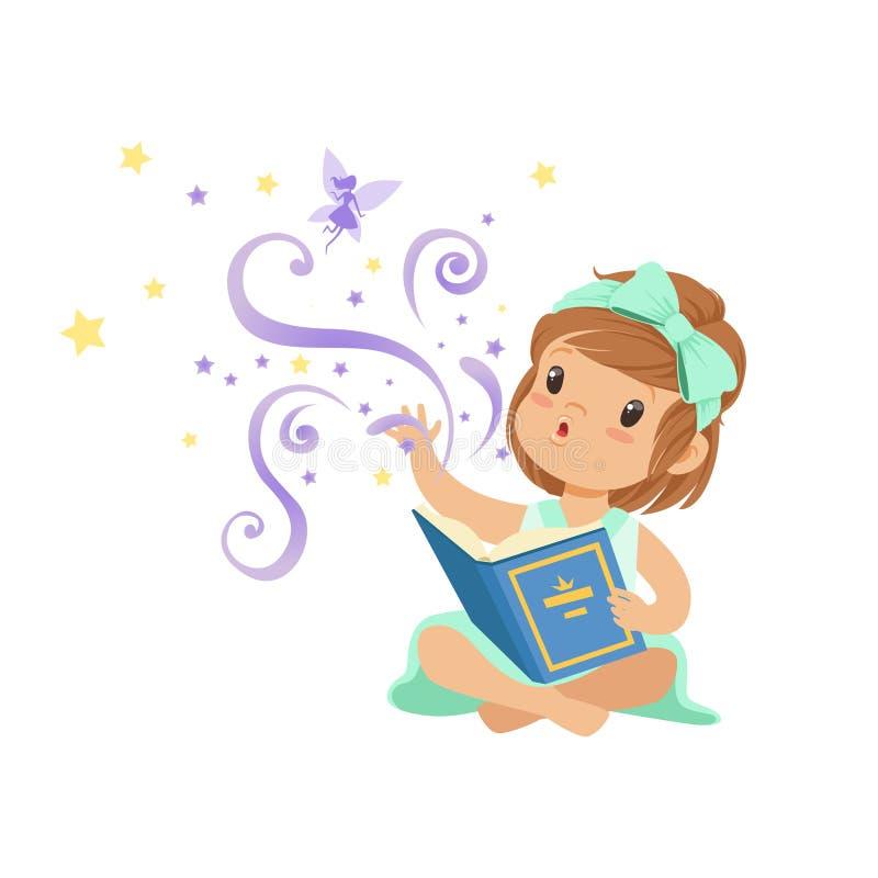 Menina entusiasmado da criança que senta-se com o livro mágico aberto e que estica sua mão à fada Caráter da criança dos desenhos ilustração royalty free