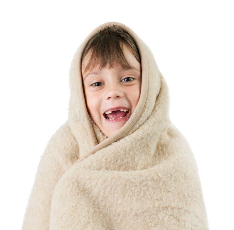 Menina, envolvida em um cobertor fotografia de stock royalty free