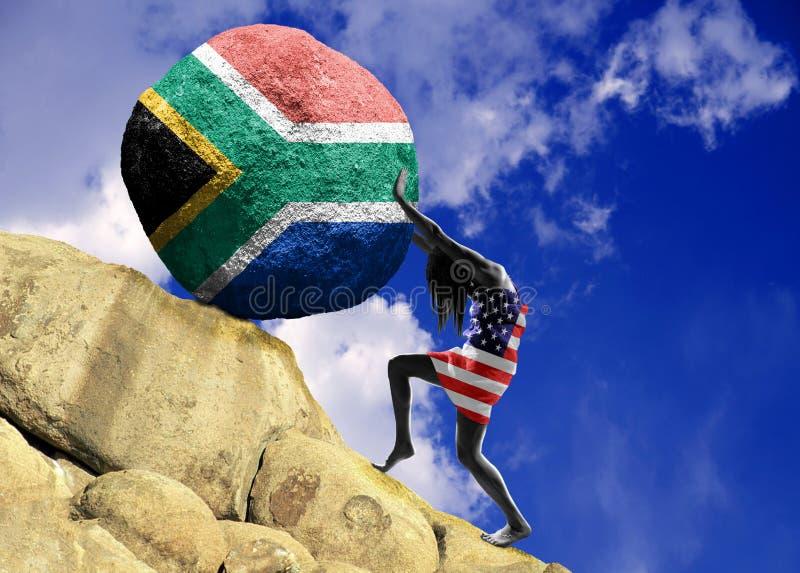 A menina, envolvida na bandeira do Estados Unidos da América, aumenta uma pedra para a parte superior como uma silhueta de África ilustração royalty free
