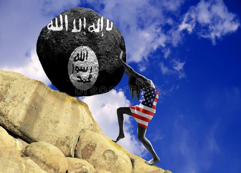 A menina, envolvida na bandeira do Estados Unidos da América, aumenta uma pedra para a parte superior sob a forma de uma silhueta ilustração royalty free