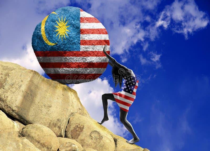 A menina, envolvida na bandeira do Estados Unidos da América, aumenta uma pedra para a parte superior sob a forma de uma silhueta ilustração stock