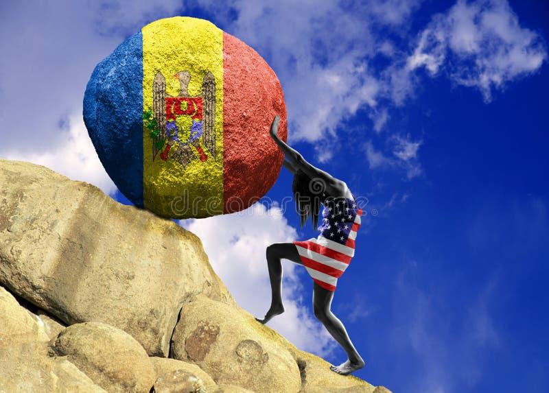 A menina, envolvida na bandeira do Estados Unidos da América, aumenta uma pedra para a parte superior sob a forma de uma silhueta ilustração do vetor