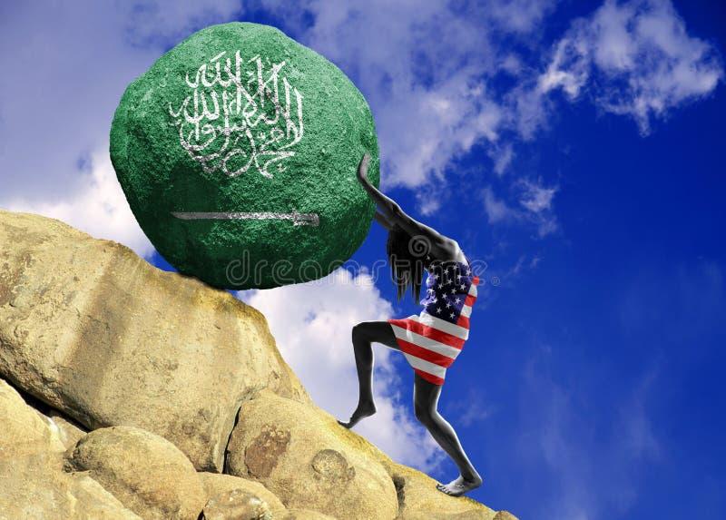 A menina, envolvida na bandeira do Estados Unidos da América, aumenta uma pedra para a parte superior sob a forma da silhueta da  imagens de stock