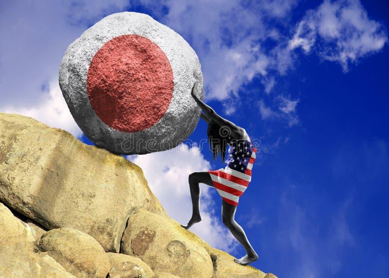 A menina, envolvida na bandeira do Estados Unidos da América, aumenta uma pedra para a parte superior sob a forma da silhueta da  ilustração royalty free