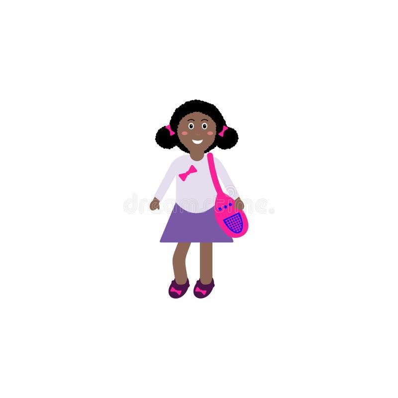 a menina ereta do Afro pelo livro de animais de África e de lupa da terra arrendada, crianças vector a ilustração isolada, lição  ilustração do vetor