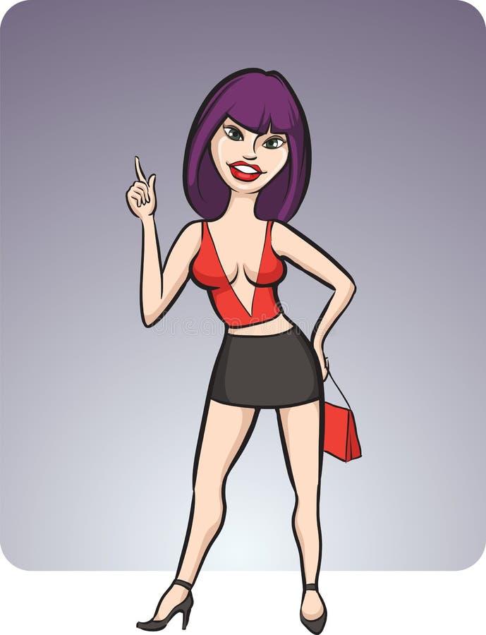Menina ereta dos desenhos animados na mini saia ilustração stock