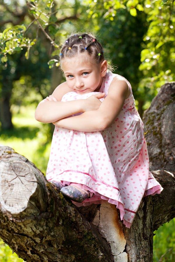 A menina escalou acima uma árvore fotos de stock royalty free