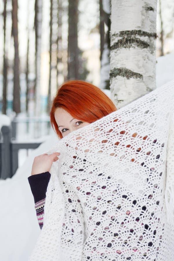 A menina esconde a cara atrás do xaile perto do vidoeiro no inverno foto de stock royalty free