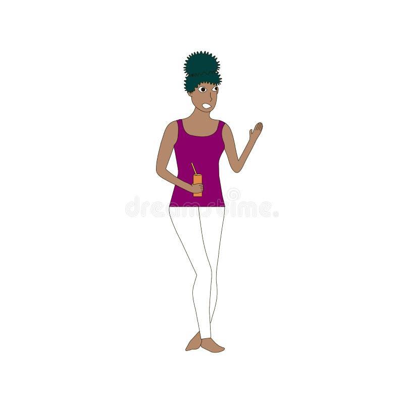 Menina escura da pele, mulher nas calças brancas, t-shirt violeta, cabelo preto encaracolado no estoque branco do elemento do pro ilustração stock