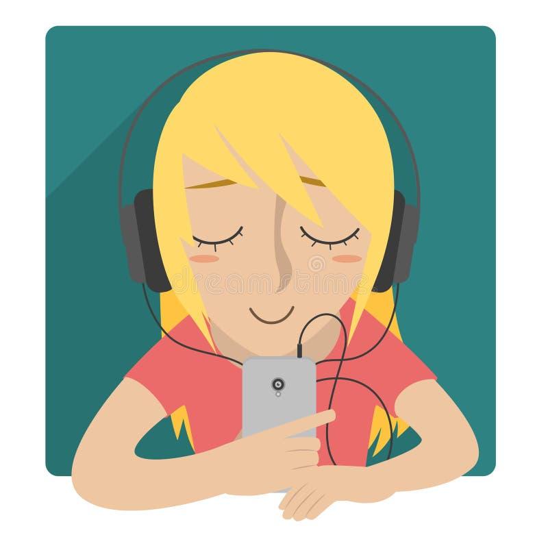 A menina escuta a música com auriculares ilustração stock