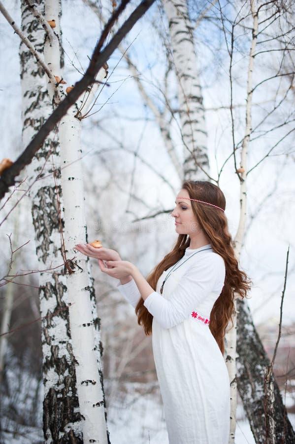 Menina eslavo bonita nova com cabelo longo e o vestuário étnico eslavo que levantam em uma floresta da mola perto de uma árvore d imagens de stock