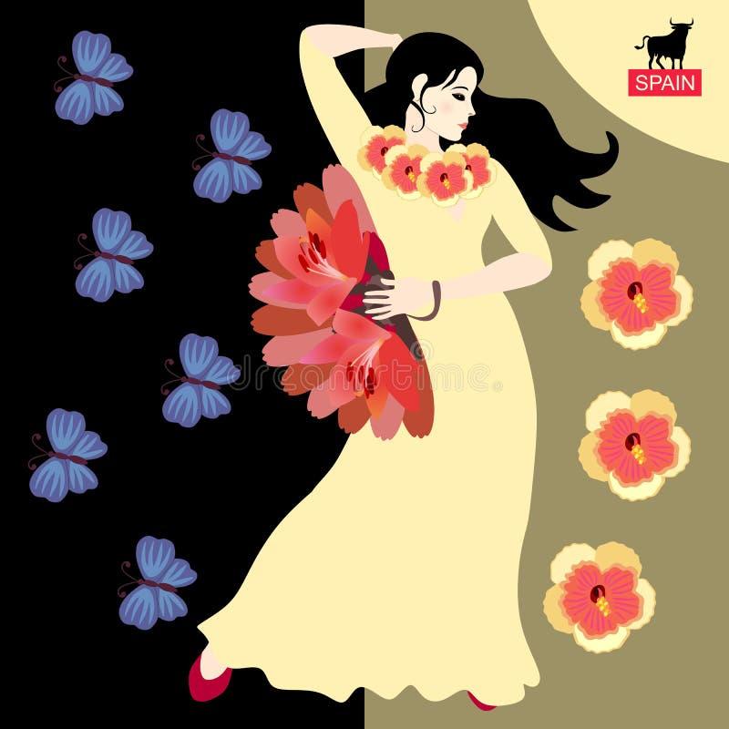 Menina espanhola bonita - dançarino do flamenco no vestido amarelo, em flores decoradas do hibiscus, com o fã em suas mão e borbo ilustração do vetor