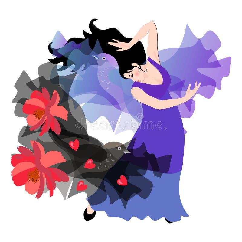 Menina espanhola bonita em um flamenco de dança do vestido lilás longo com um xaile preto com flores vermelhas ilustração stock